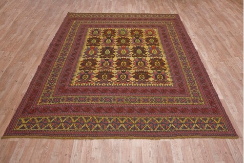 100% Wool Cream Afghan Baarjaasta Rug ABA023000 2.72 x 2.12 Handknotted in Afghanistan with a 8mm pile