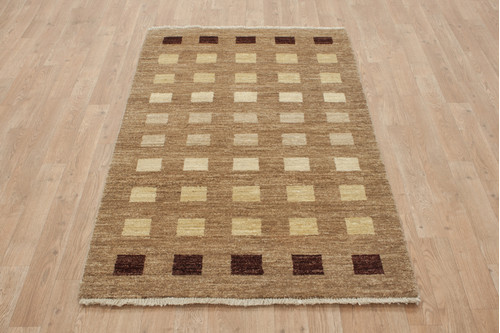 100% Wool Afghan Modern Rug AGM013CHE 151x89 Handknotted in Afghanistan with a 5mm pile