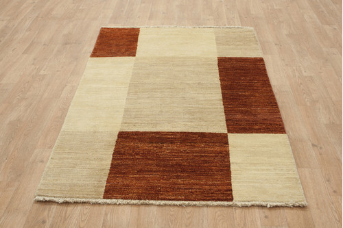 100% Wool Afghan Modern Rug AGM013000 156x92 Handknotted in Afghanistan with a 5mm pile