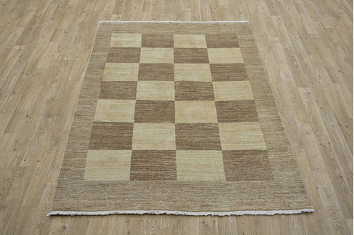 100% Wool Beige Afghan Modern Design AGM018000 180 x 121 Handknotted in Afghanistan with a 5mm pile
