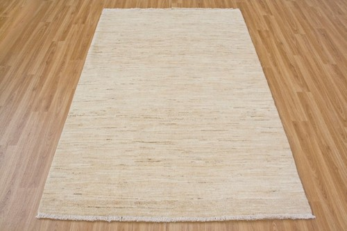 100% Wool Cream Afghan Modern Rug AGM018000 188 x 122 Handknotted in Afghanistan with a 5mm pile