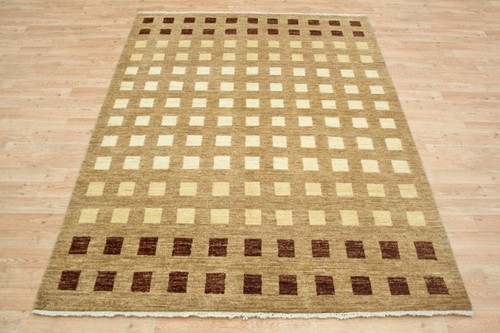 100% Wool Multi Afghan Modern Rug AGM019CHE 205 x 154 Handknotted in Afghanistan with a 5mm pile