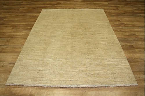 100% Wool Cream Afghan Modern Rug AGM019000 208 x 150 BOD Handknotted in Afghanistan with a 6mm pile