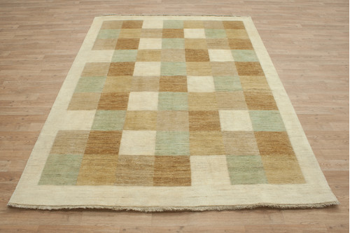 100% Wool Afghan Modern Rug AGM021CHE 239x169 Handknotted in Afghanistan with a 5mm pile