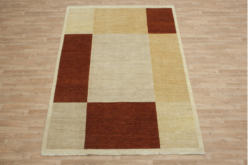100% Wool Afghan Modern Rug AGM022CHE 271x183 Handknotted in Afghanistan with a 5mm pile