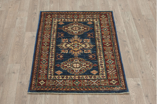 100% Wool Blue Afghan Kaynak Rug AKA006F88 87x59 Handknotted in Afghanistan with a 5mm pile