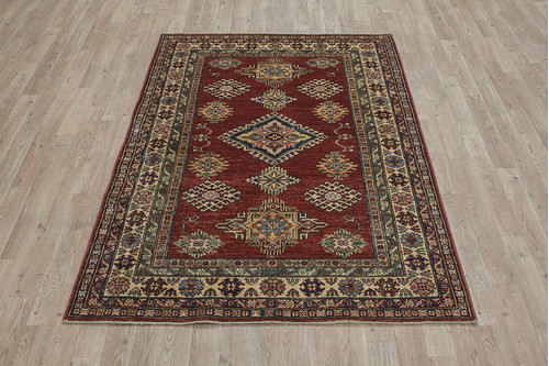 100% Wool Red Afghan Kaynak Rug AKA018F52 171x121 Handknotted in Afghanistan with a 5mm pile