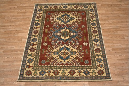 100% Wool Multi Afghan Kaynak Rug AKA019000 2.05 x 1.49 Handknotted in Afghanistan with a 5mm pile