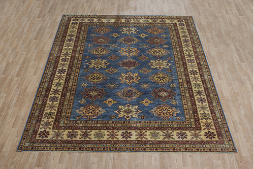 100% Wool Blue Afghan Kaynak Rug AKA025F88 324x245 Handknotted in Afghanistan with a 5mm pile