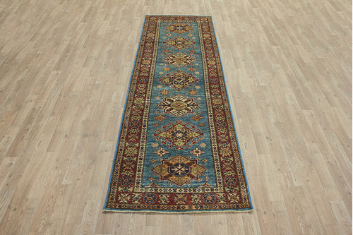 100% Wool Blue Afghan Kaynak Rug AKA044F88 255x76 Handknotted in Afghanistan with a 5mm pile
