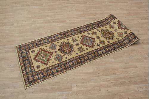100% Wool Cream Afghan Kaynak Rug AKA047F44 292x76 Handknotted in Afghanistan with a 5mm pile