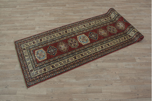100% Wool Red Afghan Kaynak Rug AKA047F52 305x82 Handknotted in Afghanistan with a 5mm pile