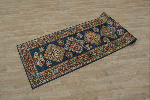 100% Wool Blue Afghan Kaynak Rug AKA047F88 280x79 Handknotted in Afghanistan with a 5mm pile