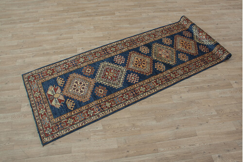 100% Wool Blue Afghan Kaynak Rug AKA047F88 280x80 Handknotted in Afghanistan with a 5mm pile