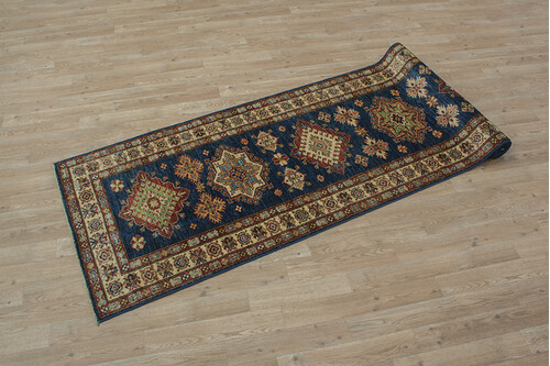 100% Wool Blue Afghan Kaynak Rug AKA047F88 295x77 Handknotted in Afghanistan with a 5mm pile