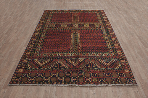 100% Wool Red Afghan Kargai Rug AKG023000 3.00 x 2.06 Handknotted in Afghanistan with a 5mm pile