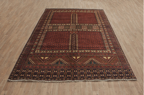 100% Wool Red Afghan Kargai Rug AKG024000 3.04 x 2.06 Handknotted in Afghanistan with a 5mm pile