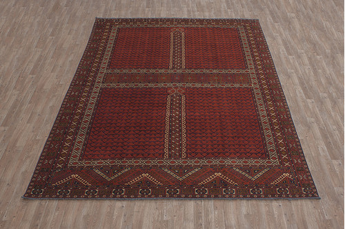 100% Wool Red Afghan Kargai Rug AKG028000 3.60 x 2.53 Handknotted in Afghanistan with a 5mm pile
