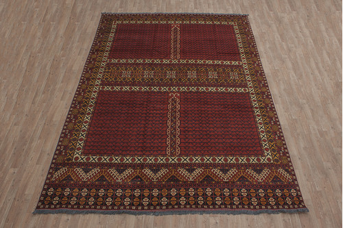 100% Wool Red Afghan Kargai Rug AKG028000 3.75 x 2.50 Handknotted in Afghanistan with a 5mm pile