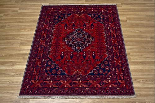 100% Wool Rust Afghan Kundoz Rug AKU014FIN 1.36 x 1.01 Handknotted in Afghanistan with a 8mm pile