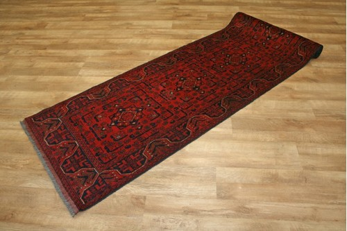 100% Wool Red Afghan Kundoz Rug AKU047000 289 x 80 Handknotted in Afghanistan with a 8mm pile