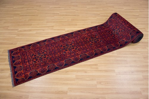 100% Wool Rust Afghan Kundoz Rug AKU056000 7.69 x .76 Handknotted in Afghanistan with a 8mm pile