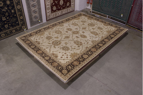 100% Wool Cream Afghan Veg Dye Rug AVE030C54 417x305 Handknotted in Afghanistan with a 5mm pile
