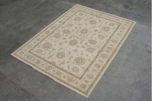 100% Wool Cream Afghan Veg Dye Rug AVE030075 415x305 Handknotted in Afghanistan with a 5mm pile