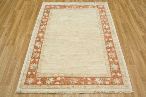 100% Wool Cream Plain Afghan Veg Dye Rug AVP013082 148 x 105 Handknotted in Afghanistan with a 5mm pile