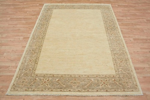 100% Wool Cream Plain Afghan Veg Dye Rug AVP021098 244 x 170 Handknotted in Afghanistan with a 5mm pile
