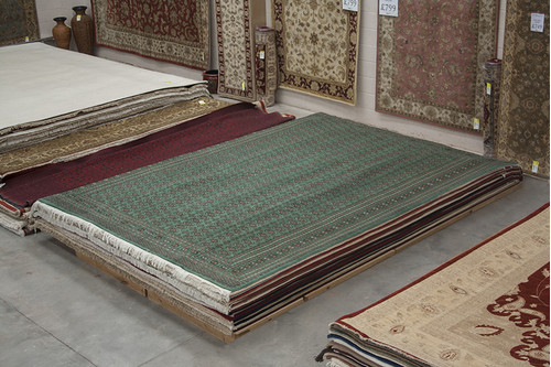 100% Wool Green FinePakistan Bokhara Rug Design BOK030042 428x313 Handknotted in Pakistan with a 10mm pile