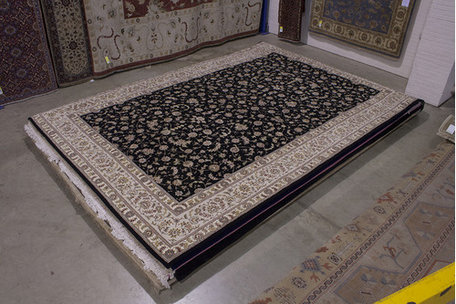 95% Wool / 5% Silk Black Chinese Royal Yelmi Rug CWS035264 569x374 Handmade in China with a 20mm pile