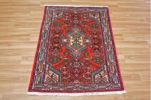 100% Wool Red Persian Hamadan Rug HAM009000 1.18 x .80 Handknotted in Iran with a 11mm pile