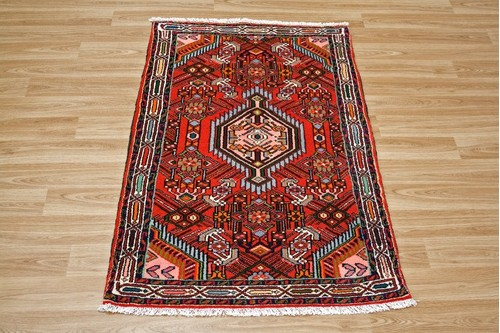 100% Wool Red Persian Hamadan Rug HAM009000 1.22 x .78 Handknotted in Iran with a 11mm pile