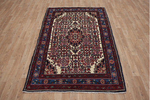 100% Wool Multi Persian Hamadan Rug HAM018CHE 195x120 Handknotted in Iran with a 18mm pile
