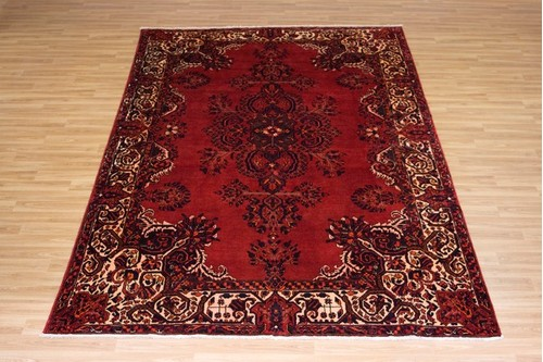 100% Wool Red Persian Hamadan Rug HAM027000 3.40 x 2.30 Handknotted in Iran with a 11mm pile