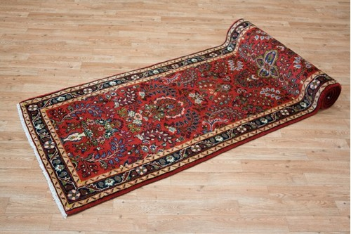 100% Wool Red Persian Hamadan Rug HAM045000 3.00 x .85 Handknotted in Iran with a 11mm pile