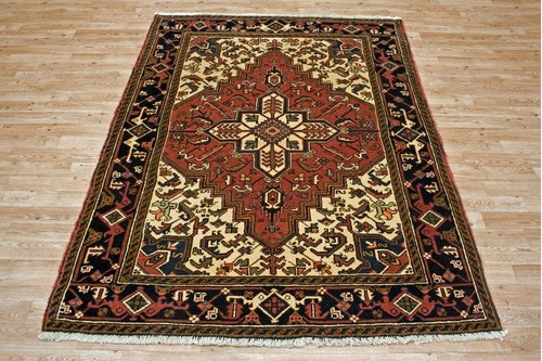 100% Wool Red Persian Heriz Rug HER019000 2.05 x 1.50 Handknotted in Iran with a 14mm pile