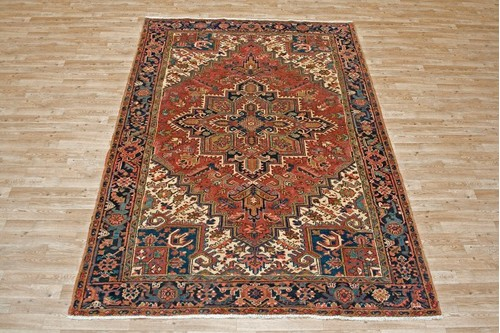 100% Wool Red Persian Heriz Rug HER023000 2.85 x 2.00 Handknotted in Iran with a 14mm pile