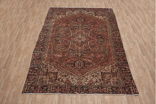 100% Wool Multi Persian Heriz Rug HER027CHE 376x225 Handknotted in Iran with a pile