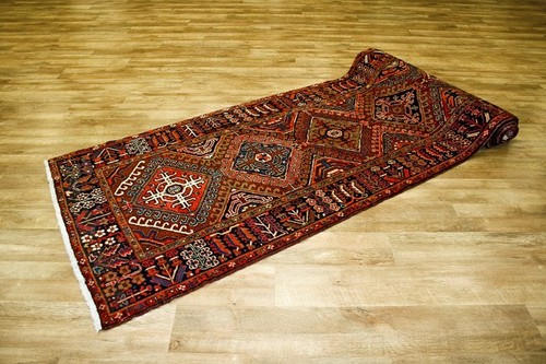 100% Wool Red Persian Heriz Rug HER055000 450 x 117 Handknotted in Iran with a 14mm pile