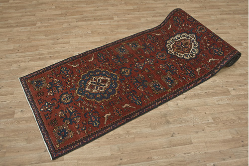 100% Wool Rust Persian Heriz Rug HER055CHE 441x95 Handknotted in Iran with a pile