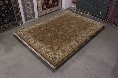 100% Wool Brown Fine Indian Jaipur Rug IJF030001 417x302 Handknotted in India with a 20mm pile