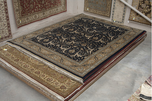 100% Wool Black Very Fine Indo Persian Design Rug IPF033004 466x366 Handknotted in India with a 20mm pile
