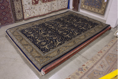 100% Wool Blue Fine Indo Persian Rug Handknotted in India with a 20mm pile