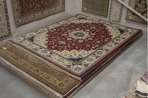 100% Wool Red Indo persian Meshed Rug Design IPM033C70 454x339 Handknotted in India with a 20mm pile