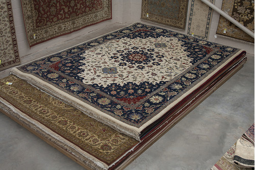 100% Wool Multi Indo persian Meshed Rug Design IPM033C84 463x357 Handknotted in India with a 20mm pile