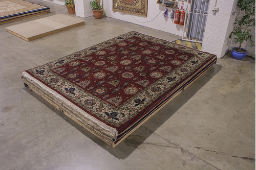 100% Wool Red Indo Persian Shervan Rug IPS030003 303x403 Handknotted in India with a 20mm pile