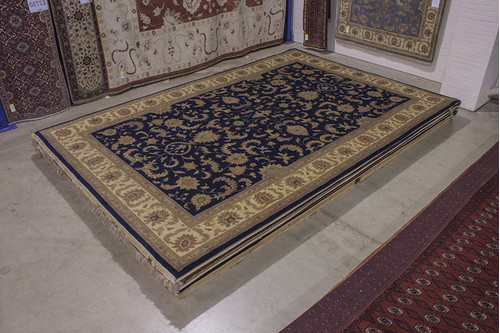 100% Wool Blue Indo Persian Keshan Rug IPZ035C88 544x363 Handknotted in India with a 20mm pile