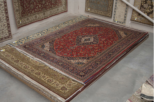 100% Wool Red Persian Keshan Rug KES031052 440x310 Handknotted in Iran with a 20mm pile